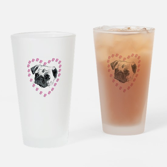 Cute Pug Dog & Hearts Drinking Glass