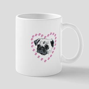 Cute Pug Dog & Hearts Mug