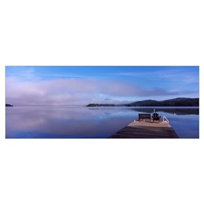 Pier at a lake Fourth Lake Adirondack Mountains Ne Poster
