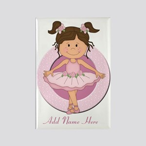 cute pink Ballerina Ballet Rectangle Magnet