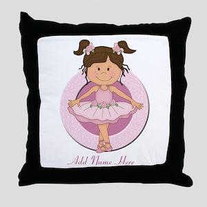 cute pink Ballerina Ballet Throw Pillow