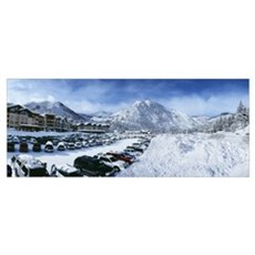 Snow covered cars in a parking lot Squaw Valley Sk Poster