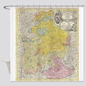Vintage Map of Bavaria Germany (172 Shower Curtain