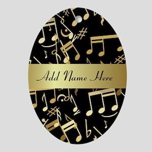 designer gold Musical notes Ornament (Oval)