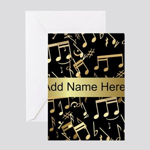 Music greeting cards cafepress designer gold musical notes greeting card m4hsunfo