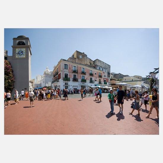 Tourists walking in front of buildings Capri Naple