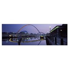 Bridge across a river Gateshead Millennium Bridge  Framed Print