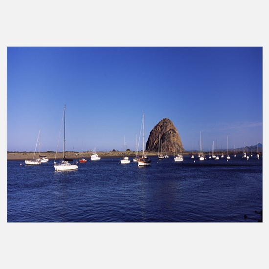 Boats at a harbor with rock in the background Morr