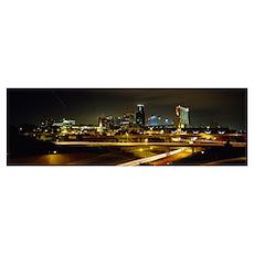 Buildings Lit Up At Night, Kansas City, Missouri Poster