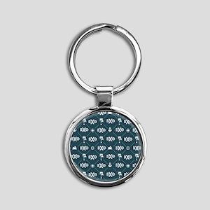 Beta Chi Theta Blue Pattern Keychains