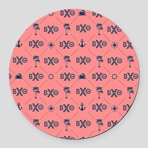 Beta Chi Theta Coral Pattern Round Car Magnet