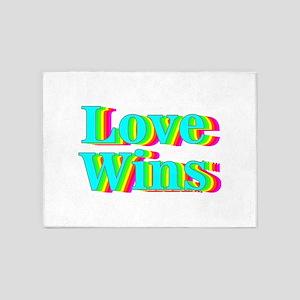 rainbow pride love wins 5'x7'Area Rug