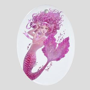 Pink Ribbon Mermaid Ornament (Oval)