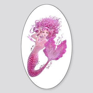 Pink Ribbon Mermaid Sticker (Oval)