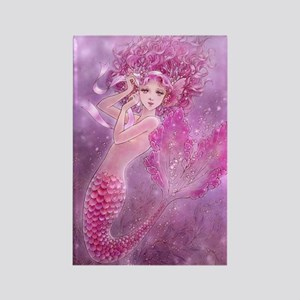 Pink Ribbon Mermaid Rectangle Magnet