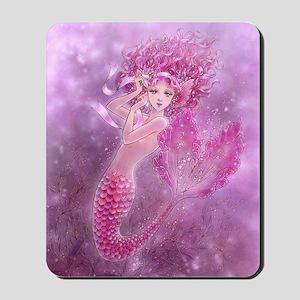 Pink Ribbon Mermaid Mousepad