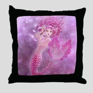 Pink Ribbon Mermaid Throw Pillow