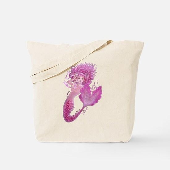Pink Ribbon Mermaid Tote Bag