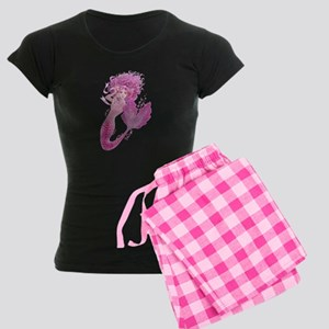 Pink Ribbon Mermaid Women's Dark Pajamas