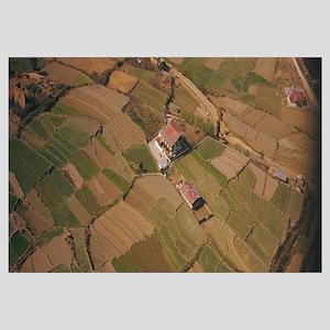 Aerial view of farmhouses in fields, Kathmandu, Ne