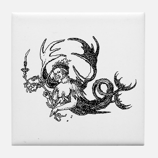 Durer Mermaid Tile Coaster