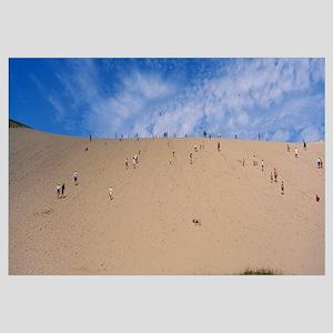Tourists climbing a sand dune, Sleeping Bear Dunes