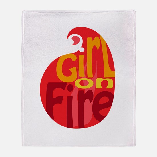 Girl On Fire Flame Throw Blanket