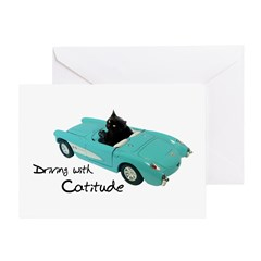 Driving with Catitude Greeting Card