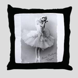"Anna Pavlova, ""Cygne"" Throw Pillow"