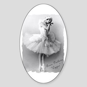 """Anna Pavlova, """"Cygne"""" Oval Sticker"""