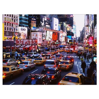 Traffic on a road in a city, Times Square, Manhatt Framed Print