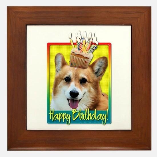 Birthday Cupcake - Corgi Framed Tile