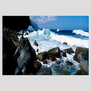 Waves breaking rocks at the coast, Na Pali Coast,