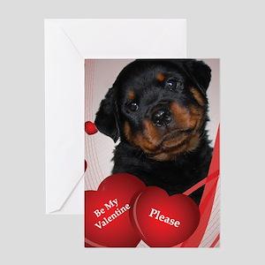 Rottweiler Puppy Valentine Greeting Card