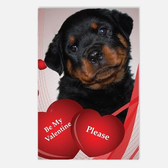 Rottweiler Puppy Valentine Postcards (Package of 8