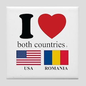 USA-ROMANIA Tile Coaster