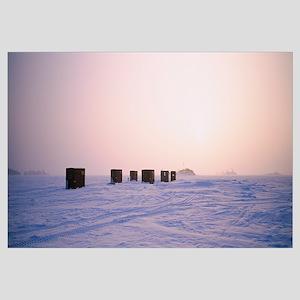 Ice fishing shacks on a frozen lake, Lake Of The W