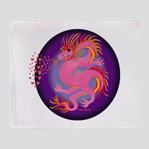 Pink Dragon with Hearts Throw Blanket