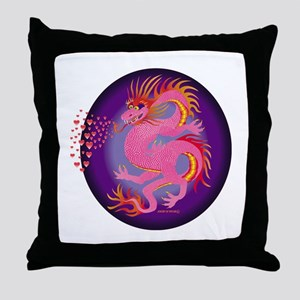 Pink Dragon with Hearts Throw Pillow