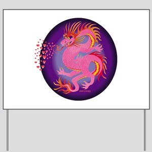 Pink Dragon with Hearts Yard Sign