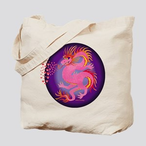 Pink Dragon with Hearts Tote Bag