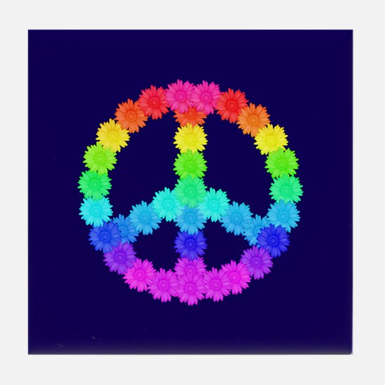Rainbow Flower Peace Sign Tile Coaster
