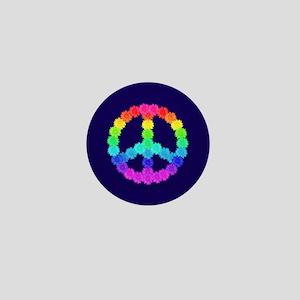 Rainbow Flower Peace Sign Mini Button