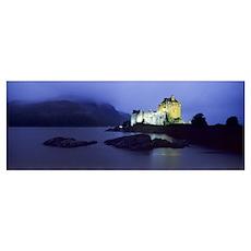 Castle lit up at dusk, Eilean Donan Castle, Loch D Poster
