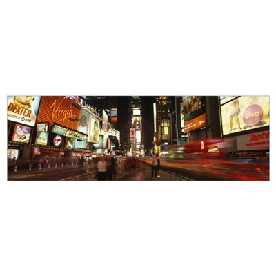 Buildings in a city, Broadway, Times Square, Midto Framed Print