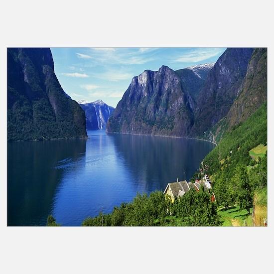 Grassy hillside along Norwegian fjord, Norway