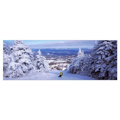 Rear view of a person skiing, Stratton Mountain Re Framed Print