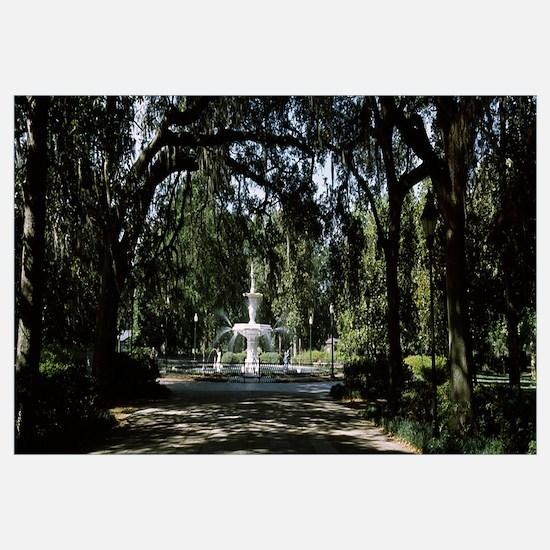 Fountain in a park, Forsyth Park, Savannah, Chatha