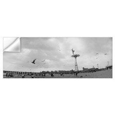 Tourists on the beach, Coney Island, Brooklyn, New Wall Decal