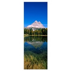Reflection of a mountain in a lake, Lake Misurina, Framed Print